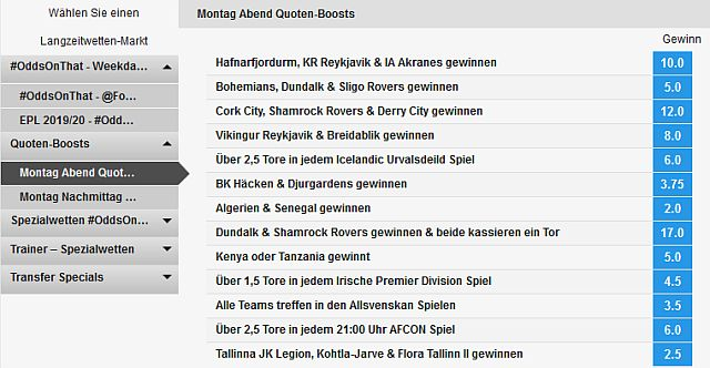 Betfair Quoten Boost