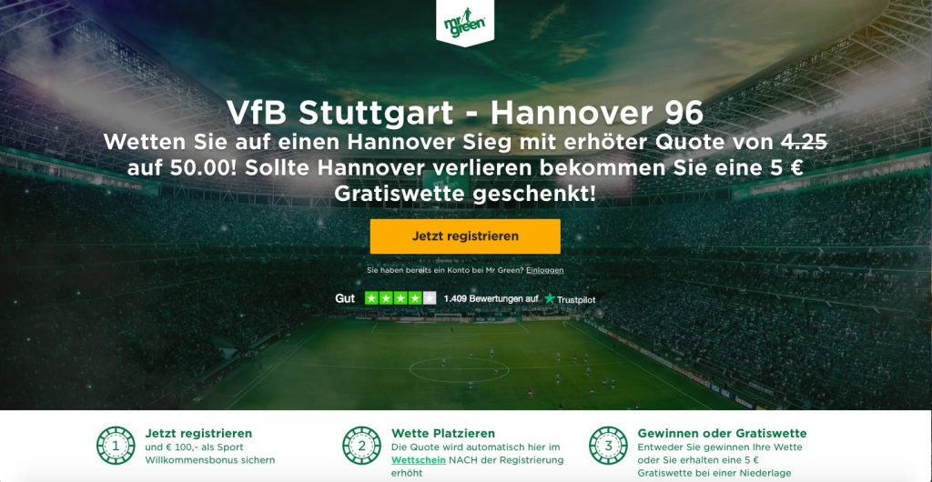 Mr Green 2. Bundesliga Saisonstart Quotenboost