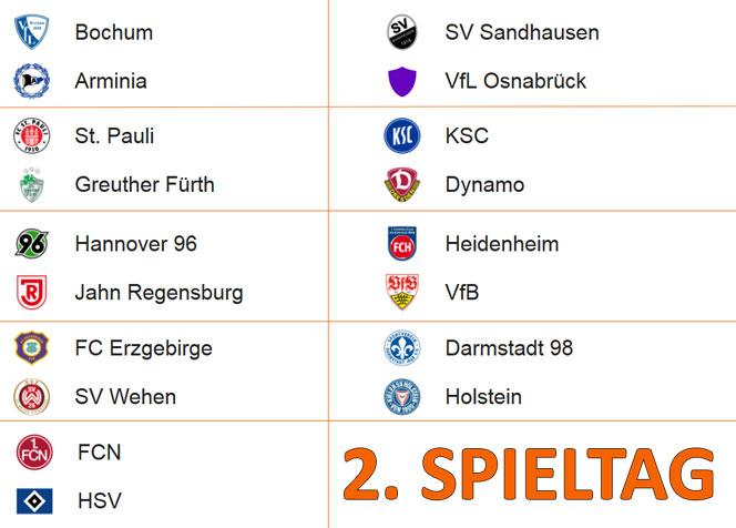 2 Bundesliga zweiter Spieltag